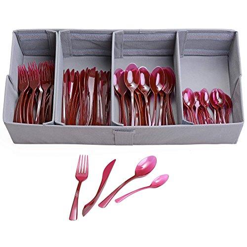 GRÄWE Einwegbesteck-Set für 50 Personen, 200-teilig, rot - 50 Messer, 50 Gabeln, 50 große Löffel, 50 kleine Löffel, inkl. Stoff-Besteckbox