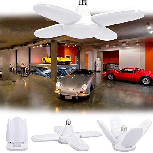 NXM LED Garaje, 60W E27 6500K 6000Lm Lámpara Deformable para Taller con 4 Paneles Ajustables, Luz De Techo LED para Garaje, Almacén, Taller, Sótano, Gimnasio, Cocina (1 Pieza)