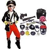 FAIRYRAIN 22 Pcs Kinder Jungen Halloween Piratenkostüm mit Piraten Zubehöre Piraten Augenklappe Hut Kompass Geldbeutel Outfits Party Verkleidung