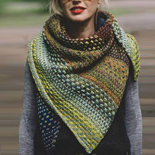 Memefood Pañuelo de invierno cálido para mujer, de lana gruesa, de punto, bufanda suave