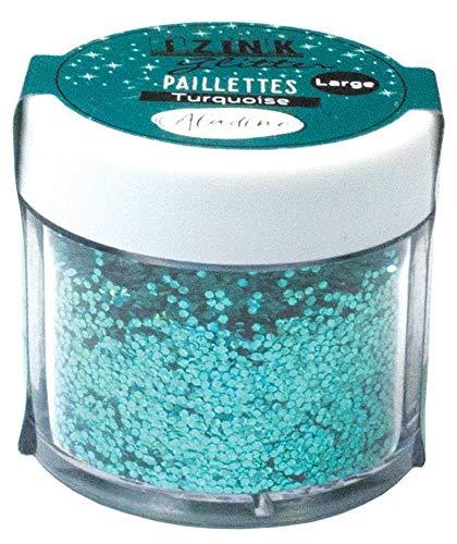 Aladine - Izink Glitter - Paillettes Tout Support - Pot de 15 g - DIY, Scrapbooking, Décoration, Carterie Créative - Couleur Turquoise