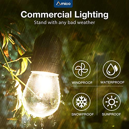 Amico 49FT Outdoor String Lights Commercial Grade Weatherproof Dimmable Patio Light String - 11W Incandescent Edison Bulb - UL Listed Heavy-Duty Decorative Yard Bistro Market Café Lights