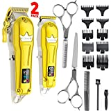 Ufree Hair Clippers for Men + T-Blade Trimmer Kit, Professional Hair Cutting Kit Beard Trimmer Barbers Clippers for Men Women Kids Clipper Set Cordless & LED Display (Gold)