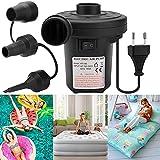 RAVSOOL Pompa ad aria elettrica, pompa elettrica da 220-240 V/150 W per gonfiabili Pompa per piscina per bambini con 3 adattatori per ugelli, pompa da letto portatile ad aria compressa rapida