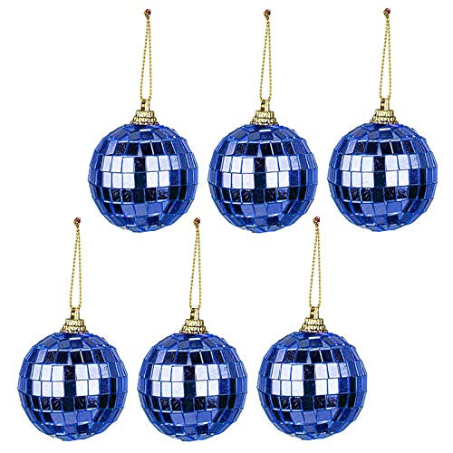 T-REASURE 6 Pack Mirror Disco Ball, 2in Colorful Bright Reflective Christmas Balls Ornaments Xmas Tree Hanging Balls Pendants for Indoor Outdoor Holiday Party Festival Wedding Home Decor