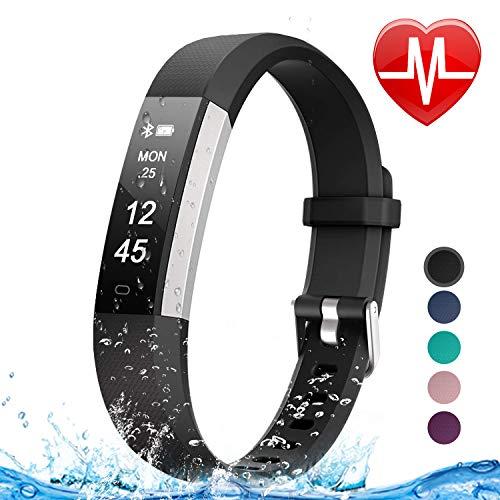Letsfit Fitness Tracker HR, Heart Rate Monitor Watch, IP67 Waterproof Pedometer Watch, Sleep Monitor, Step Counter Tracker, Slim Activity Tracker for Women Men Kids