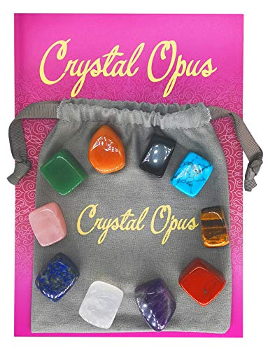 Large Deluxe Set of 10 Charka Crystal Stones for Balancing, Reiki & Healing with Pouch, Meaning Card, Instructions & Care Guide. Polished Tumbled Crystals for *All Ten* Chakras.