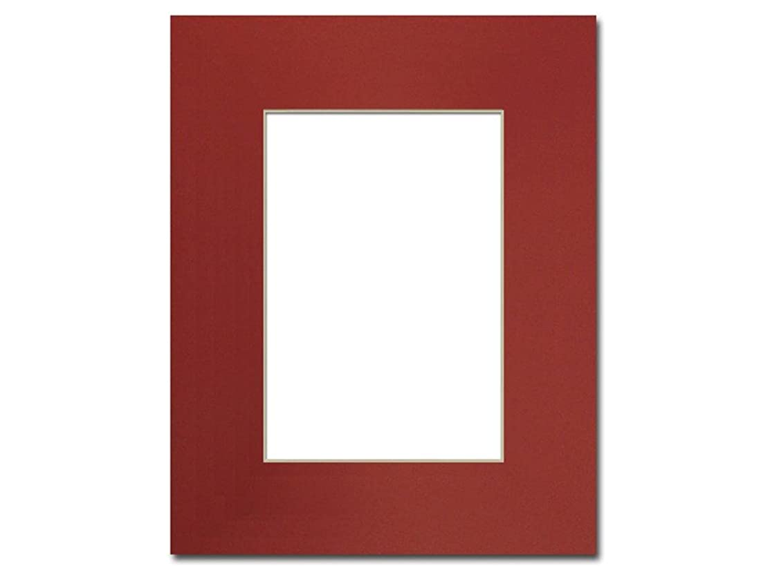 PA Framing, Single Mat, 8 x 10 inches Frame for 5 x 7 inches Photo Art Size - Cream Core/Deep Red