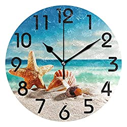 Dozili Beach Shells Round Wall Clock Arabic Numerals Design Non Ticking Wall Clock Large for Bedrooms,Living Room,Bathroom