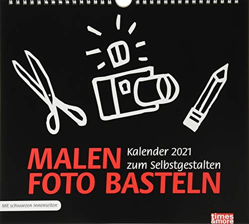 times&more Bastelkalender 2021 in schwarz - mit Monatskalendarium und Spiralbindung - Format 30 x 27 cm