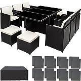 tectake set di mobili da giardino poli rattan alluminio arredamento set 6 sedie +tavolo +4 sgabelli + involucro protettivo, viti in acciaio inox - disponibile in diversi colori - (nero)