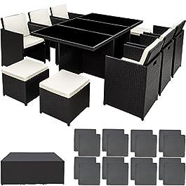 TecTake Ensemble Salon de jardin en Résine Tressée Poly Rotin Aluminium Table Set 6+1+4 avec deux set de housses…