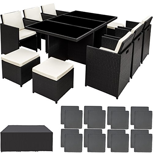 TecTake Rattan Aluminium Garden Furniture Set Outdoor Wicker Black 6+4 Seats + 1 Table (Black | no. 401454)