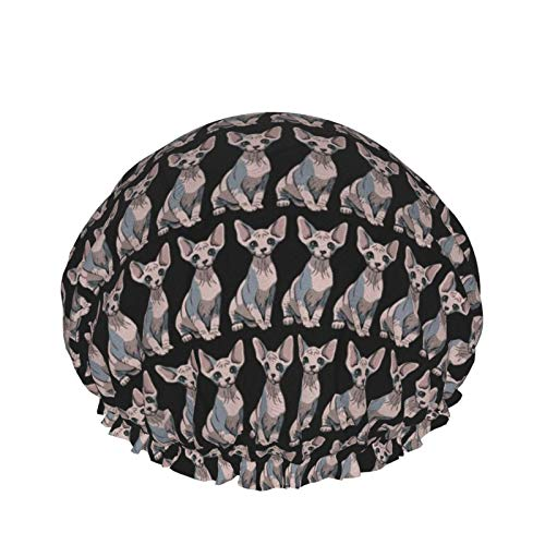 Sphynx Cat Black Shower Cap For Women Long Hair Waterproof Reusable Soft And Comfortable Fit.