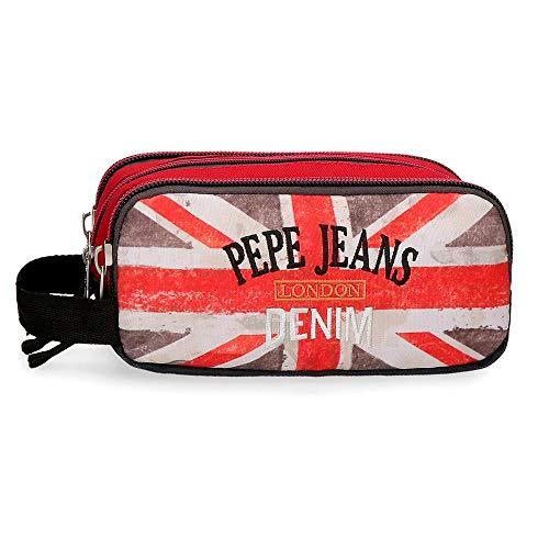 Pepe Jeans Calvin, Estuche Triple Cremallera, 22 cm, 1.98 Litros, Multicolor