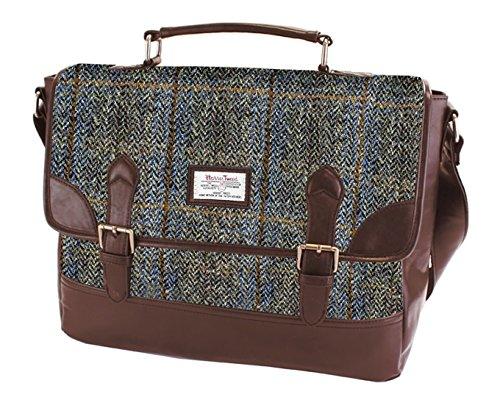 Damen oder Herren Echte Harris Tweed Satchel Aktentasche in der Farbe (Braun)