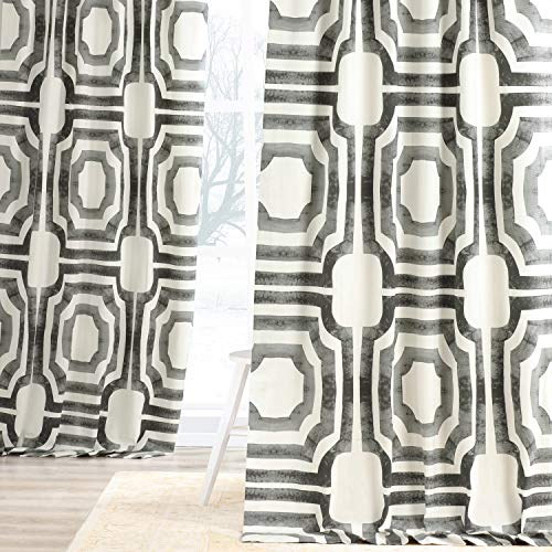 HPD Half Price Drapes PRTW-D23A-96 Printed Cotton Curtain (1 Panel), 50 X 96, Mecca Steel