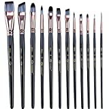 Transon Artist Paint Brush Set of 12 for Watercolor Acrylic Gouache Oil and Tempera Painti...