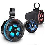 2-Way Waterproof Off Road Speakers - 4' 800W Active Passive Marine Grade Wakeboard Tower RGB Speakers System w/Bluetooth Controller, Full Range Stereo Speaker for ATV/UTV Jeep Boat - Pyle PLUTV48KBTR