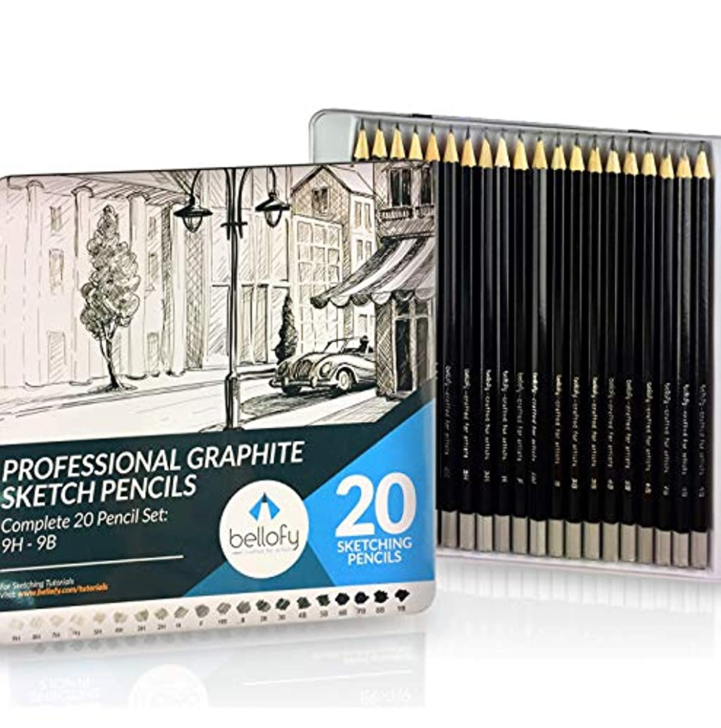 Bellofy 20 Sketching Pencils – Complete Professional Graphite Pencil Set for Sketch Drawing – 9B to 9H Art Travel Set for Adults and Kids - Shading Pencils, Drawing and Art Supplies, Sketching Set