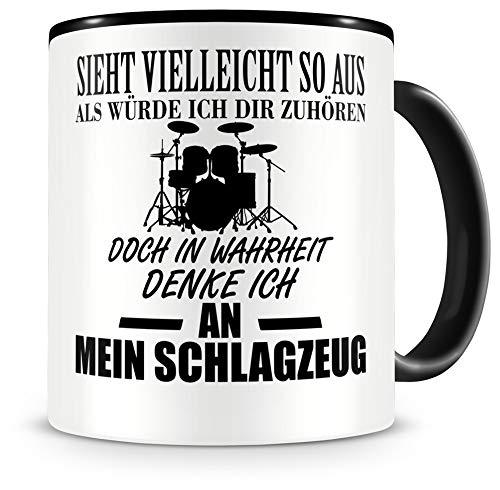 Samunshi® Schlagzeug Tasse mit Spruch Geschenk für Musiker Tasse Schlagzeug Becher Kaffeebecher Lustige Tassen zum Geburtstag Teetasse schwarz 300ml