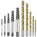 LJQSS Firma Conjunto de bits de Broca de la Mano Izquierda de 10pcs Cobalt + Set de Extractor de Tornillo dañado Perno dañado Durable