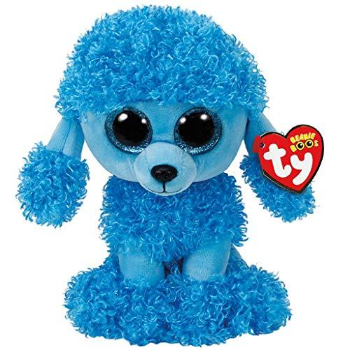 TY 37263 Blue Poodle Mandy, Pudel blau 24cm, mit Glitzeraugen, Beanie Boo\'s