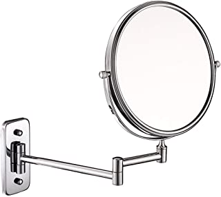 Wall-Mounted Makeup Mirror Folding Beauty Mirror 6 Inch Bathroom Vanity Mirror 10X Magnifying Double-Sided Wall-Mounted Vanity Mirror 5CD1 (Color : Silver, Size : 6 inches 10X)
