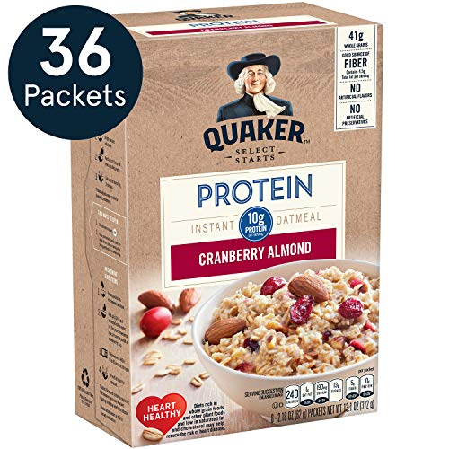 Quaker Protein Instant Oatmeal, Cranberry Almond, 10g Protein, Individual Packets, 36 Count