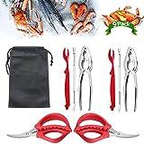 Bsopem - Set di 8 attrezzi per sgusciare frutti di mare, multifunzione, aragosta granchio, granchio di pecan, in metallo, per apri gamberetti e crostacei, per ristoranti, picnic, famiglia