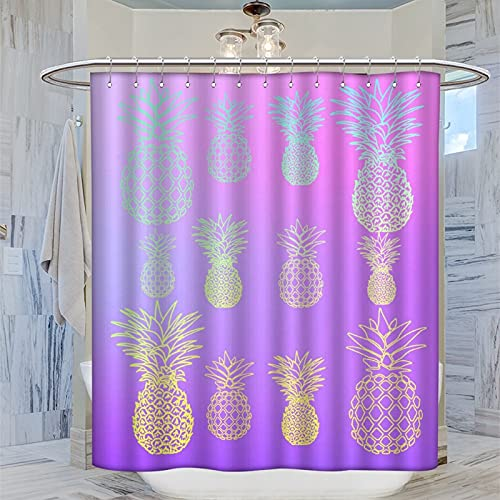 Duschvorhang mit Ananas-violettem Ombre-Muster, 168 x 183 cm, Badezimmer-Vorhang mit 12 Kunststoff-Haken, wasserdicht, waschbar