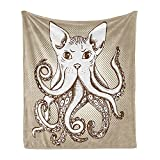 Lunarable Octopus Soft Flannel Fleece Throw Blanket, Cephalopod Cat Head Illustration Vintage Style Cartoon Cat Tentacles Print, Cozy Plush for Indoor and Outdoor Use, 70' x 90', Grey White