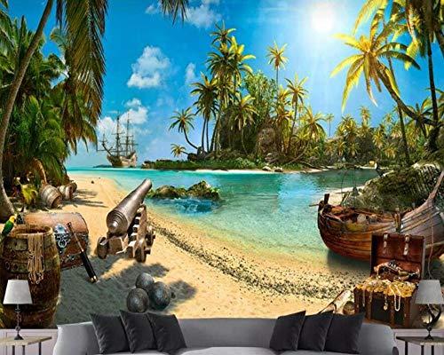 3D Fototapete 3D Wallpaper Magischer Pirat Treasure Island Landschaft 3D Wallpaper Hintergrund Dekorative Wandbild 3 D @ 350 * 245