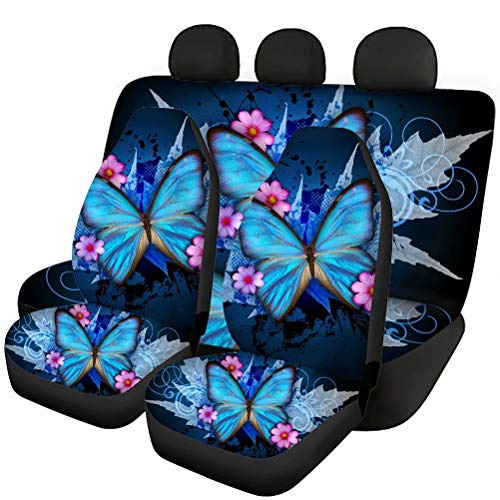 Tupalatus Blue Butterfly Car Front Back Seat Covers Full Set of 4 Pieces Universal Fit Most Car SUV Van Truck,Back Seat Protector Pads for Women Ladies Auto Accessories