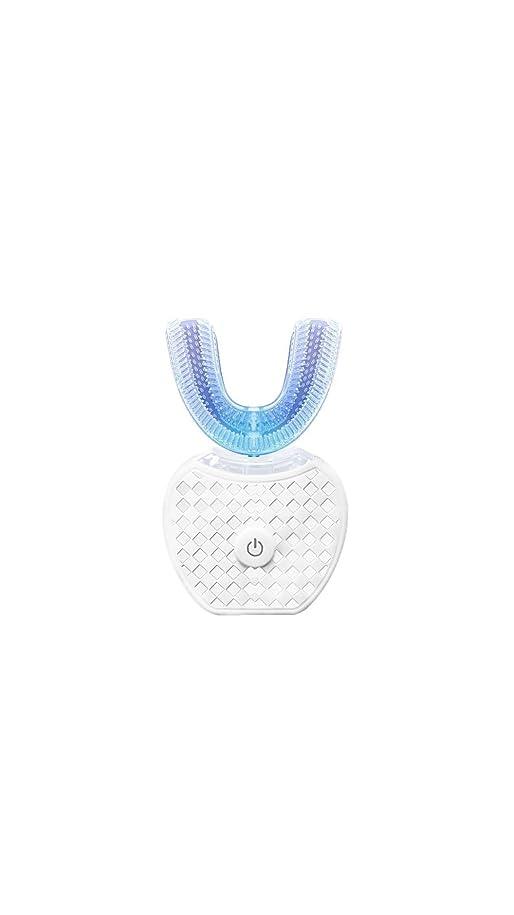 陸軍ストロー要件歯360°自動口頭洗剤を白くする美の歯科器械のスマートな音波シリコーンの電動歯ブラシ(White)