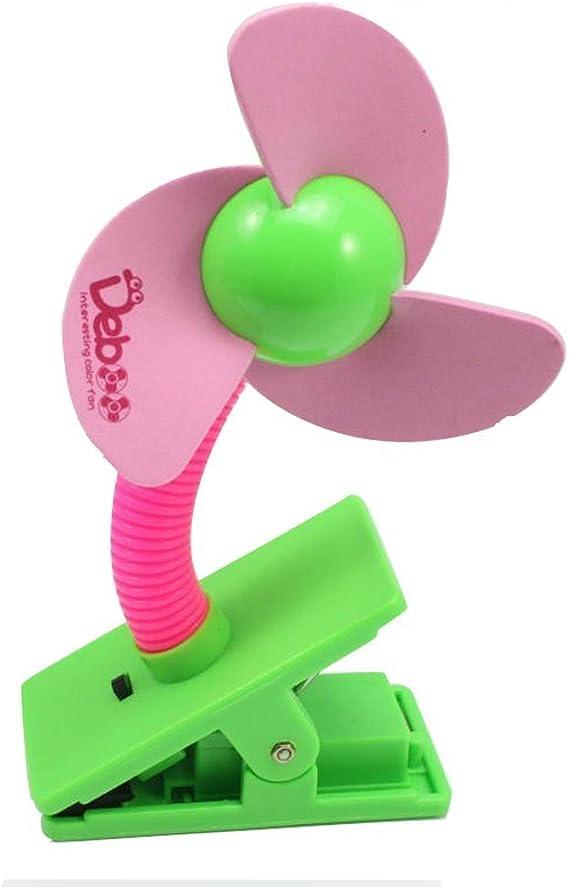 HugeStore - Ventilador pequeño para cochecito de bebé con sistema de agarre tipo pinza - Funciona con pilas