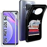 """HYMY Cover + Vetro Temperato per Xiaomi Mi 10T Lite 5G Custodia (6.67"""") - Custodia in Silicone TPU - Back Case Protezione Cellulare Black Bumper 9H Pellicola Protettiva,XY23"""