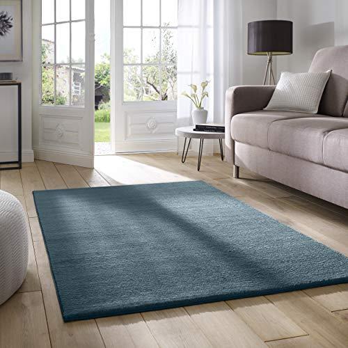 Taracarpet Supersoft kurzflor Teppich Fiona Wohnzimmer Schlafzimmer Kinderzimmer Flur Läufer waschbar rutschfest Uni blau 160x230 cm