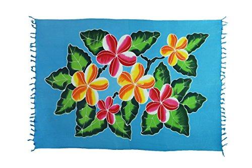 Ciffre Original Yoga Sarong Pareo Wickelrock Strandtuch Rund ca 170cm x 1110cm Handtuch Schal Kleid Wickeltuch Wickelkleid Türkises Blumen Muster