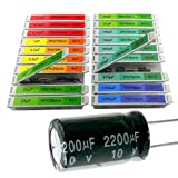 EEEEE 0.1uF-2200uF capacitors 20 Value 304pcs Individual Box Lid Electrolytic Capacitor Assortment kit for Industrial Electrical and arduino