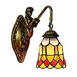 LHQ-HQ Británica Moderna del vitral de Tiffany Sala Comedor Dormitorio Club de la Barra del Pasillo Rojo Festivo lámpara de Pared de la decoración de la Pared de luz de la lámpara de Tiffany