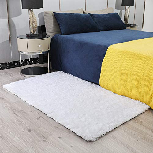 Ophanie Ultra Soft Fluffy Area Rugs for Bedroom, Luxury Shag Rug Faux Fur Non-Slip Floor Carpet for Living Room, Kids Room, Baby Room, Girls Room, and Nursery - Modern Home Decor, 3x5 Feet White