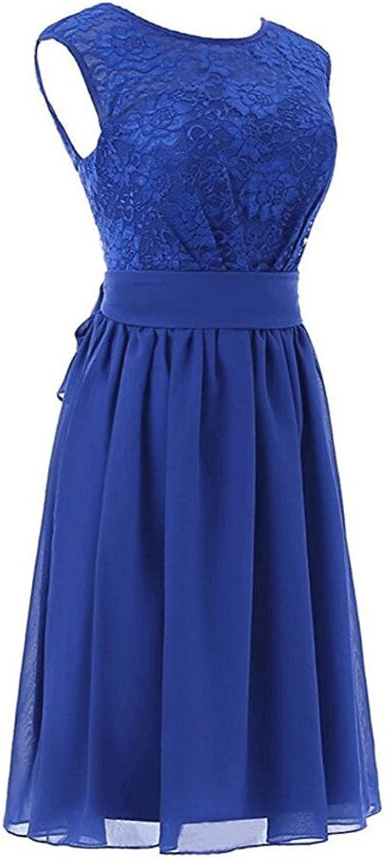 Dreagel Women's Short Vintage Bridesmaid Dresses Lace Homecoming Dress with Belt