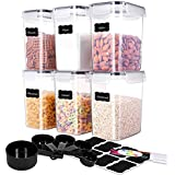 ME.FAN Medium Food Storage Containers [Set of 6] Airtight Storage Keeper 1.6L(54.1oz) with 5 Set Measuring Cups 24 Chalkboard labels & Pen Ideal for Sugar, Flour, Baking Supplies (Black)