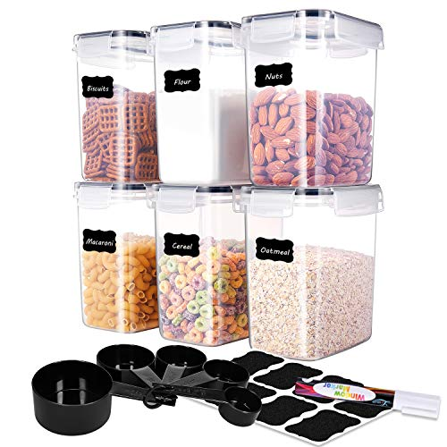 MEFAN Medium Food Storage Containers Set of 6 Airtight Storage Keeper 16L541oz with 5 Set Measuring Cups 24 Chalkboard labels Pen Ideal for Sugar Flour Baking Supplies Black