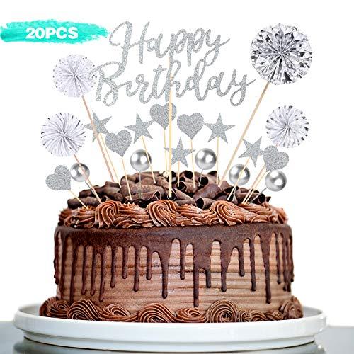 RayE Plata Decoracion Tarta cumpleaños,Letrero de Happy Birthday para decoración para Tarta,Adecuado para niños Adulto Fiestas Familiares de cumpleaños