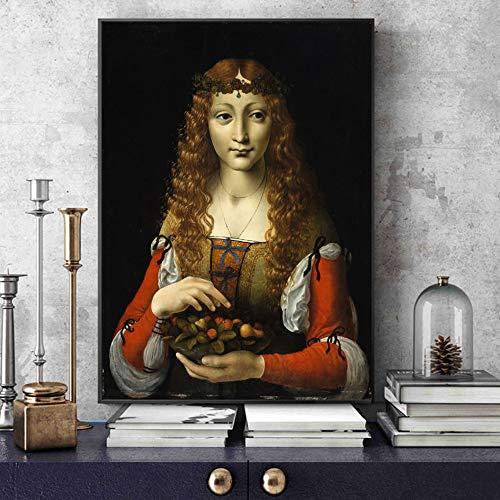 ganlanshu Mädchen mit berühmter Kunstmalerei der Kirsche, berühmter Italienischer Künstler verziert auf Leinwand,Rahmenlose Malerei,45x56cm