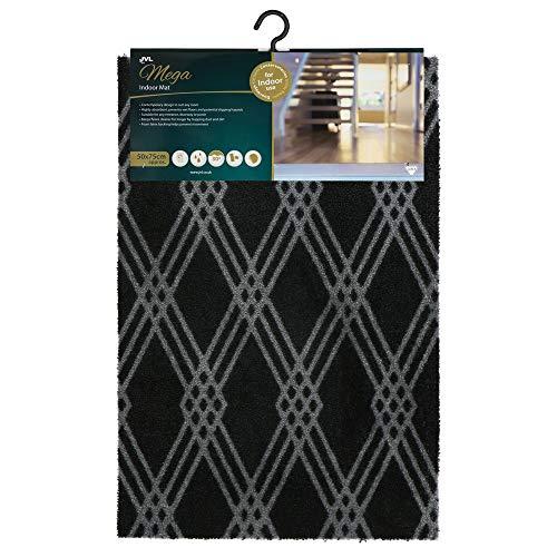 JVL Mega zeer absorberende machine wasbare deurmat, grote diamant ontwerp, zwart, grijs, een maat