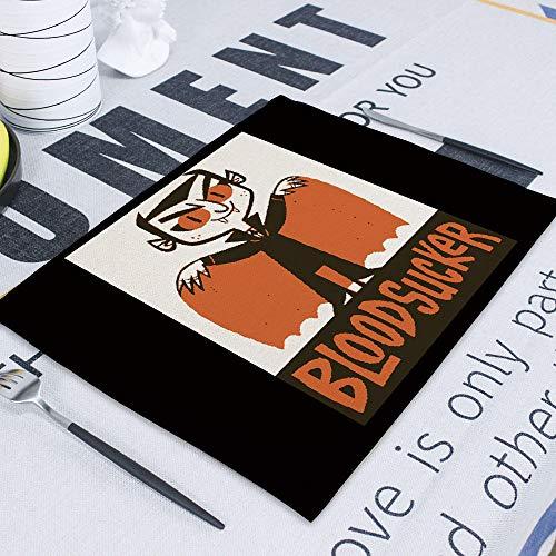 NTT Manteles Individuales niños,Feliz Halloween Horror Decoraciones de Halloween para el hogar Decoración de Calabaza Esteras de Mesa Vampiro Spooky Trick or Treat Party-2_42-32cm