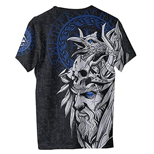 Camiseta Odin Raven Viking para Hombre, Verano con Estampado de Grficos 3D, Manga Corta, Divertido, Cuello Redondo, Camisas Polister Secado Rpido,Azul,6XL
